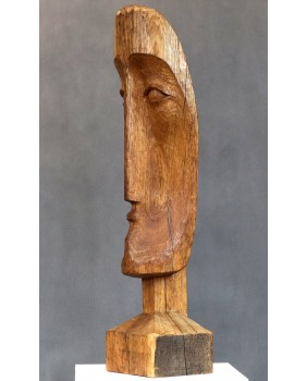A subtle sad face. Wooden...